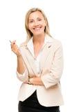 Ώριμη γυναίκα ευτυχής που απομονώνει στο άσπρο υπόβαθρο στοκ φωτογραφίες