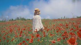Ώριμη γυναίκα που απολαμβάνει την ομορφιά της φύσης σε έναν ζωηρόχρωμο τομέα παπαρουνών απόθεμα βίντεο