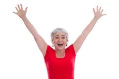 Ώριμη κυρία ευτυχής στο κόκκινο - που απομονώνεται στο λευκό στοκ φωτογραφία με δικαίωμα ελεύθερης χρήσης