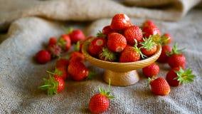 Ώριμη κόκκινη οργανική φράουλα φιλμ μικρού μήκους