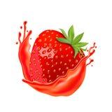Ώριμη φράουλα με το χυμό που απομονώνεται στο άσπρο υπόβαθρο απεικόνιση αποθεμάτων