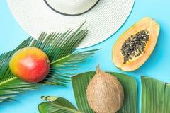 Ώριμη Juicy διχοτομημένη μάγκο Papaya καρύδα στο μεγάλο καπέλο ήλιων αχύρου φύλλων φοινικών στο μπλε υπόβαθρο Μόδα χαλάρωσης θερι στοκ εικόνες