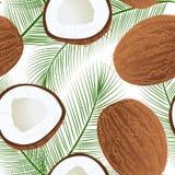 Ώριμη juicy καρύδα με το φύλλο που απομονώνεται στο λευκό άνευ ραφής διανυσματικό σύνολο σχεδίων και μισός διανυσματική απεικόνιση