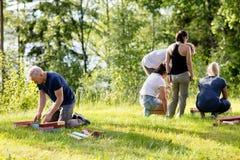 Ώριμοι άτομο και φίλοι που παίζουν με τις δομικές μονάδες στον τομέα Στοκ εικόνα με δικαίωμα ελεύθερης χρήσης
