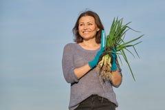 Ώριμος αγρότης γυναικών που περπατά μέσω του κήπου με το πράσινο φρέσκο κρεμμύδι φρέσκων κρεμμυδιών στοκ εικόνα