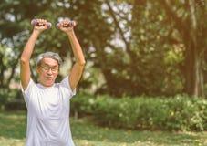 Ώριμος ανυψωτικός αλτήρας ατόμων στο πάρκο στοκ εικόνα