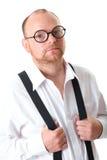 Ώριμος επιχειρηματίας, άσπρο πουκάμισο, που απομονώνεται στοκ εικόνα