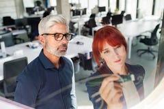 Ώριμος επιχειρηματίας και νέα επιχειρηματίας στο γραφείο Στοκ Φωτογραφία