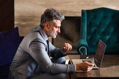 Ώριμος επιχειρηματίας με το lap-top σε ένα σαλόνι ξενοδοχείων Στοκ Εικόνα
