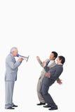 Ώριμος επιχειρηματίας με megaphone Στοκ Φωτογραφία