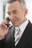 Ώριμος επιχειρηματίας που χρησιμοποιεί ένα κυψελοειδές τηλέφωνο Στοκ Φωτογραφίες