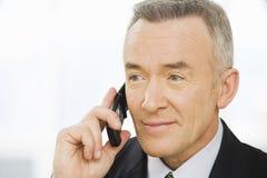 Ώριμος επιχειρηματίας που χρησιμοποιεί ένα κυψελοειδές τηλέφωνο Στοκ Εικόνες