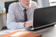 Ώριμος επιχειρηματίας που χρησιμοποιεί ένα lap-top Στοκ Φωτογραφία