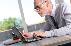 Ώριμος επιχειρηματίας που χρησιμοποιεί ένα lap-top Στοκ φωτογραφία με δικαίωμα ελεύθερης χρήσης