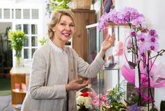 Ώριμος θηλυκός πελάτης στο floral κατάστημα στοκ φωτογραφία με δικαίωμα ελεύθερης χρήσης