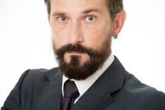 Ώριμος και πεπειραμένος Αρσενική ηρεμία προσώπου βέβαια με τη γενειάδα και mustache στενό επάνω Κώδικας ντυσίματος επιχειρηματιών στοκ εικόνες