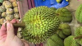 Ώριμος μεγάλος durian στα χέρια μιας γυναίκας Επιλέγοντας έναν Ασιάτη durian στην αγορά r φιλμ μικρού μήκους