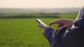 Ώριμο άτομο γεωπόνων που χρησιμοποιεί το smartphone στο αγρόκτημα γεωργίας Κλείστε επάνω τον αγρότη με το κινητό τηλέφωνο παραδίδ απόθεμα βίντεο