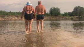 Ώριμο ζεύγος -- αγκαλιάστε την παράβλεψη του ποταμού Το όμορφο ζεύγος των πρεσβυτέρων ποτίζει πλησίον Ευτυχείς ηλικιωμένοι που κρ απόθεμα βίντεο