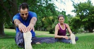 Ώριμο ζεύγος που εκτελεί την τεντώνοντας άσκηση στο πάρκο φιλμ μικρού μήκους