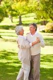 Ώριμο ζεύγος που χορεύει στο πάρκο στοκ φωτογραφίες