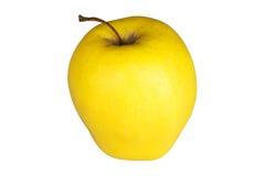 Ώριμο κίτρινο μήλο που απομονώνεται στο λευκό Στοκ Φωτογραφία