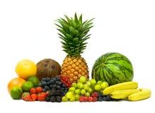 Ώριμο νόστιμο σύνολο σύνθεσης φρούτων που απομονώνεται στο λευκό Στοκ φωτογραφία με δικαίωμα ελεύθερης χρήσης