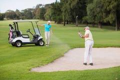 Ώριμο παιχνίδι παικτών γκολφ στην παγίδα άμμου από τη γυναίκα Στοκ Φωτογραφία