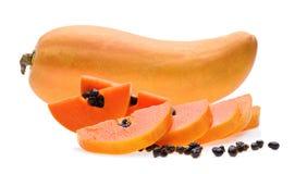 Ώριμο papaya άσπρο υπόβαθρο φρούτων Στοκ φωτογραφία με δικαίωμα ελεύθερης χρήσης