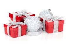 δώρο τρία σχεδίου Χριστουγέννων καρτών κιβωτίων Στοκ Φωτογραφία