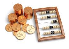 Абакус и монетки иллюстрация вектора