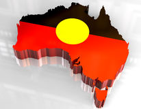 аборигенная австралийская карта флага 3d иллюстрация вектора