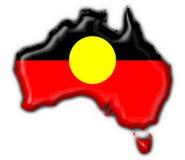 аборигенная австралийская форма карты флага кнопки Стоковые Изображения