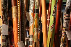 Аборигенная аппаратура, didgeridoo стоковые фотографии rf