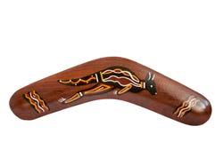 Аборигенный деревянный изолированный бумеранг стоковое фото rf