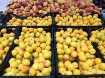 Абрикосы и персики плодоовощей лежа в коробках в супермаркете Стоковая Фотография