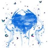 Абстрактная акварель брызгает голубое сердце Сердце с красочными бабочками стоковые изображения rf