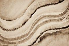 Абстрактная акварель на бумажной текстуре как предпосылка В тонне Sepia Стоковая Фотография RF