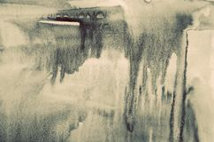 Абстрактная акварель на бумажной текстуре как предпосылка В тонне Sepia Стоковое фото RF