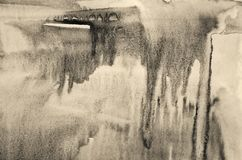 Абстрактная акварель на бумажной текстуре как предпосылка В тонне Sepia Стоковое Изображение RF