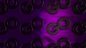 """Абстрактная анимация трехмерных логотипов хрома """"идет """"установить на лоснистой пурпурной поверхности r Мотивация и бесплатная иллюстрация"""