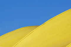 абстрактная архитектурноакустическая деталь современная архитектура, желтые панели на фасаде здания Стоковое Фото