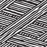 Абстрактная безшовная геометрическая monochrome картина, волнистый пересекать выравнивается Стоковые Изображения
