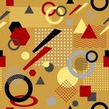 Абстрактная безшовная картина в беже постмодернистского стиля Мемфиса белом черном красном Стоковые Изображения RF