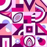 Абстрактная безшовная картина в примитивном геометрическом стиле формы или мозаики в розовой сирени бесплатная иллюстрация