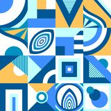 Абстрактная безшовная картина в примитивном геометрическом стиле формы или мозаики в голубом апельсине иллюстрация штока