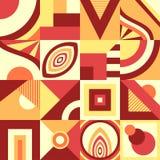 Абстрактная безшовная картина в примитивном геометрическом стиле формы или мозаики в бежевом апельсине чела иллюстрация вектора