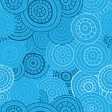 Абстрактная безшовная картина кругов, линий и точек Голубые нарисованные вручную круги иллюстрация вектора