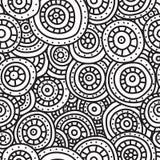 Абстрактная безшовная картина кругов, линий и точек Тонкий и толстый контур Черные нарисованные вручную круги иллюстрация вектора