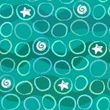 Абстрактная безшовная картина моря с кругами, волнами и раковинами Стоковая Фотография RF